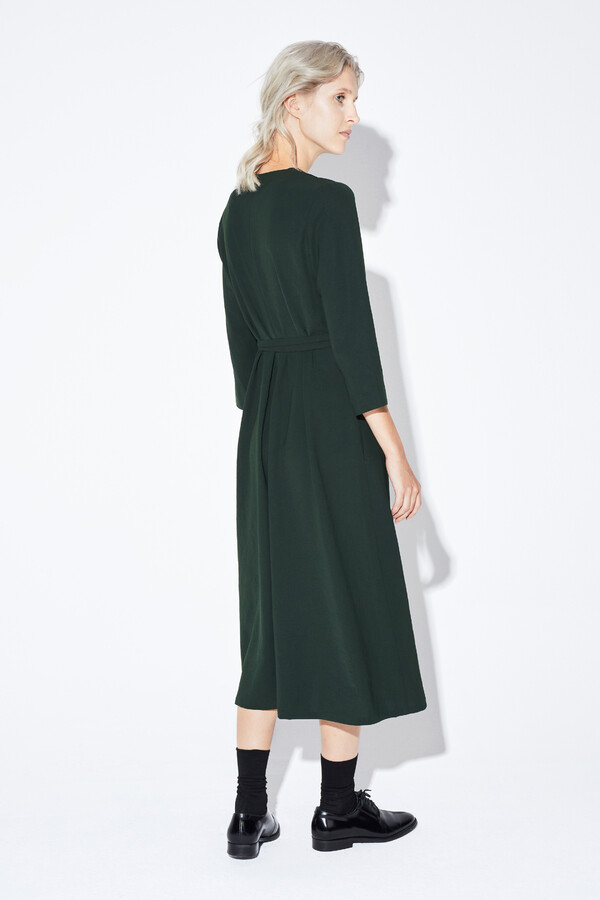 RELAXED FIT V-NECK DRESS DARK GREEN