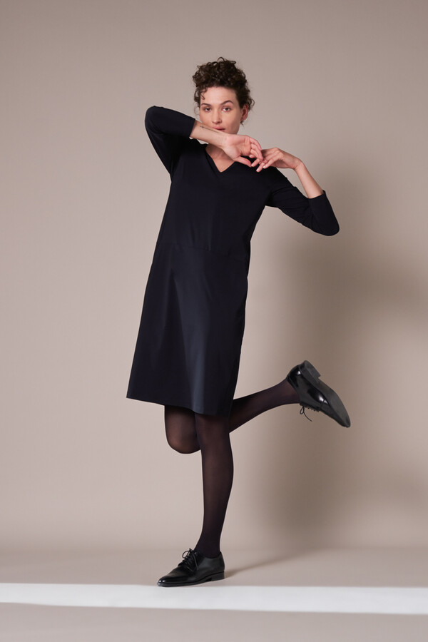 POCKET DRESS LONG SLEEVE BLACK