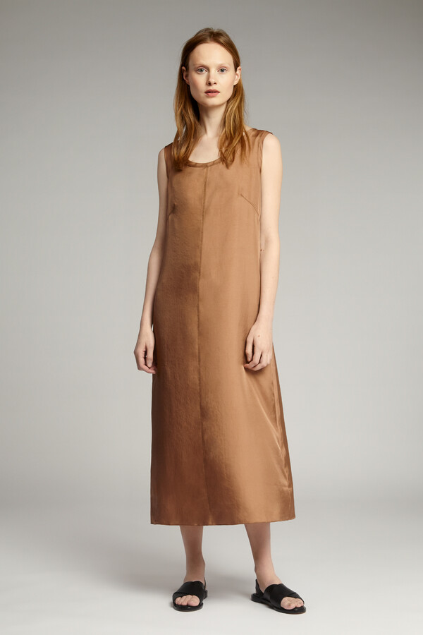 EASY SILKY TANK DRESS CARAMEL