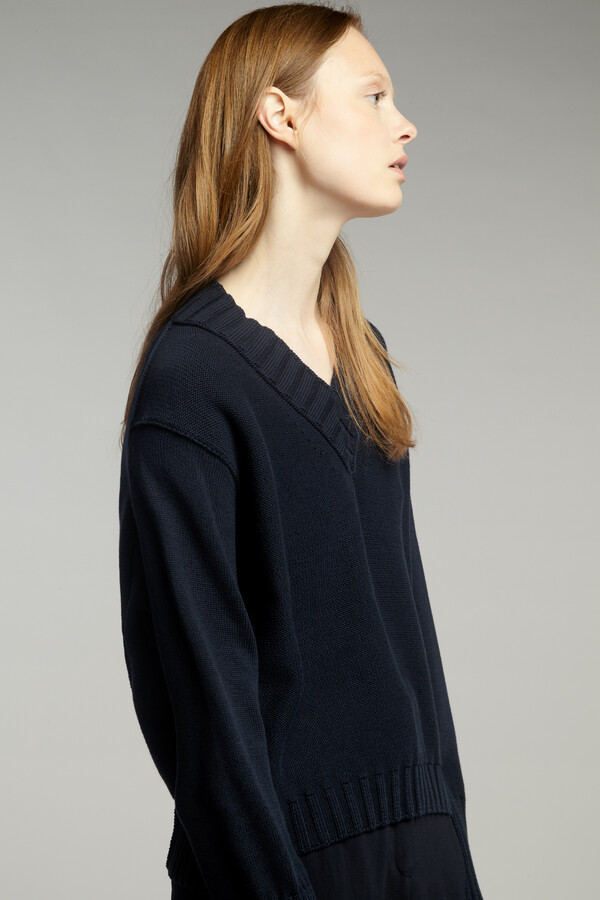 COTTON CROPPED V-NECK MIDNIGHT BLUE