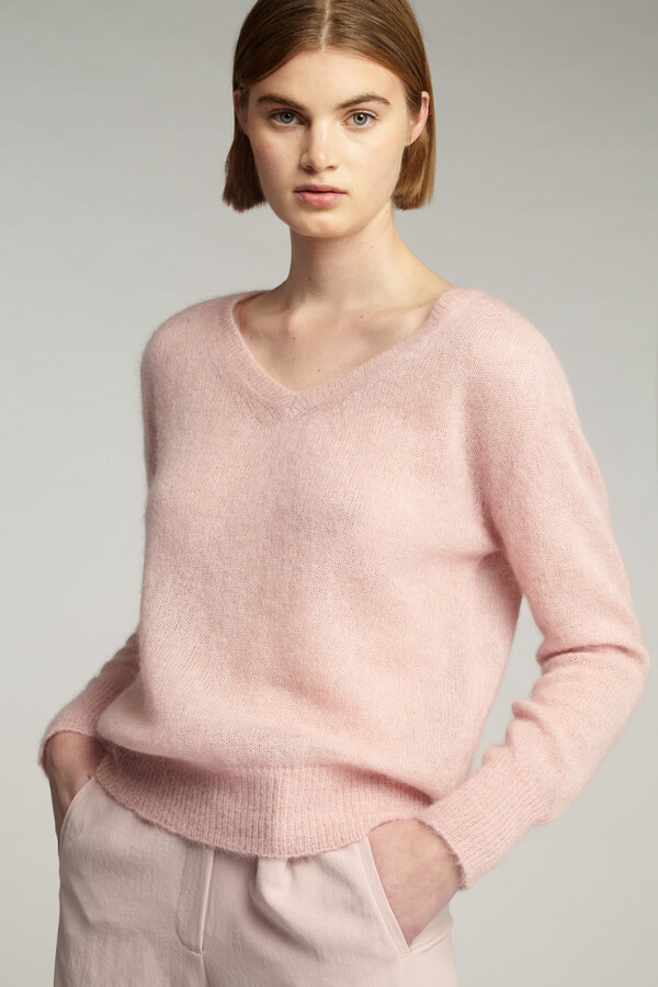 SUMMER ALPACA V-NECK FADED ROSE