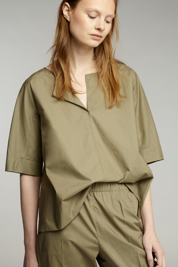 COTTON SPLIT FRONT TOP KHAKI
