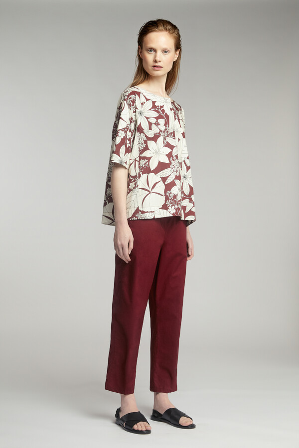 COTTON PRINT SPLIT FRONT TOP CARDINALE