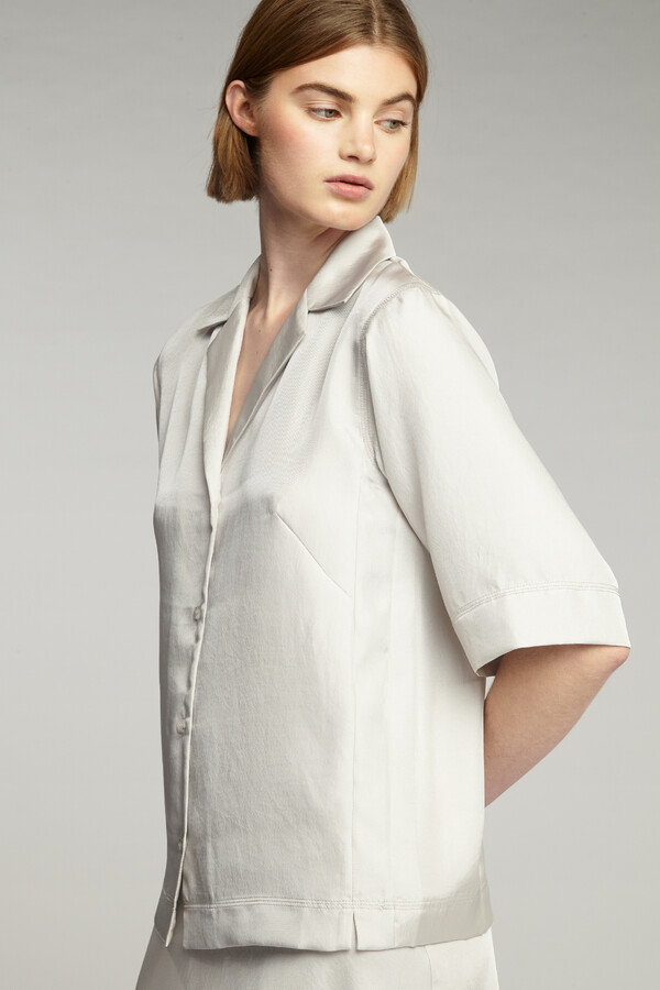 SHORT SLEEVE NOTCH SHIRT EGGSHELL