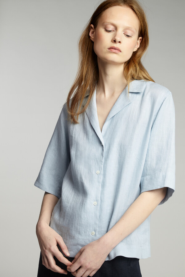 LINEN SHORT-SLEEVE NOTCH SHIRT HORIZON BLUE