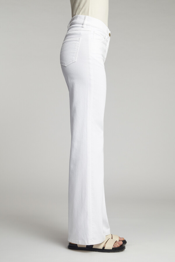 FLARED TWILL BROEK OFF WHITE