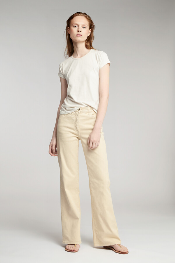 FLARED TWILL BROEK LATTE
