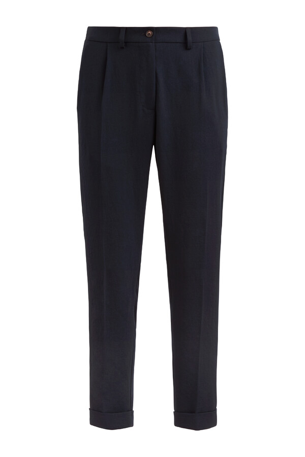 JAPANESE CREPE MAINE BROEK MIDNIGHT BLUE