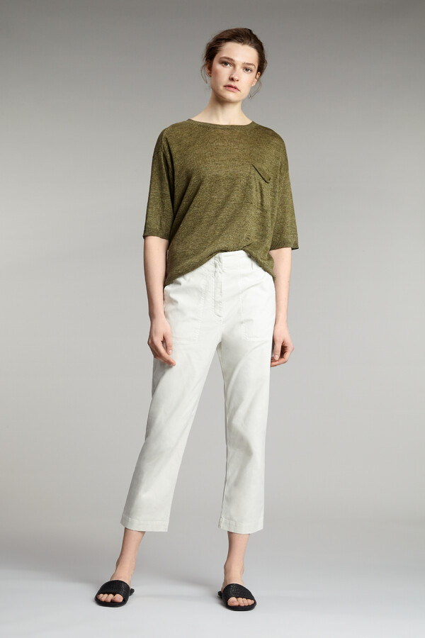 COTTON RELAXED BROEK EGGSHELL
