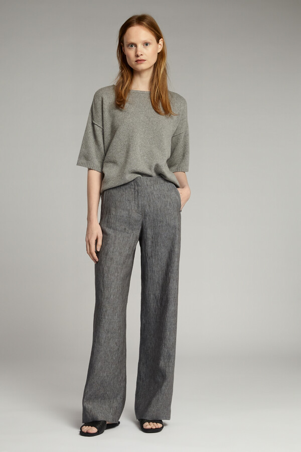 LINEN DELAVE WIDE LEG BROEK CHARCOAL