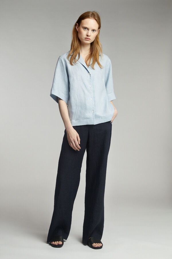 LINEN DELAVE WIDE LEG BROEK MIDNIGHT BLUE