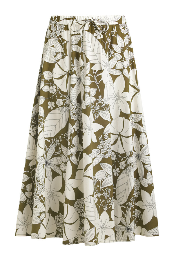 COTTON PRINT DRAWSTRING ROK SAFARI GREEN
