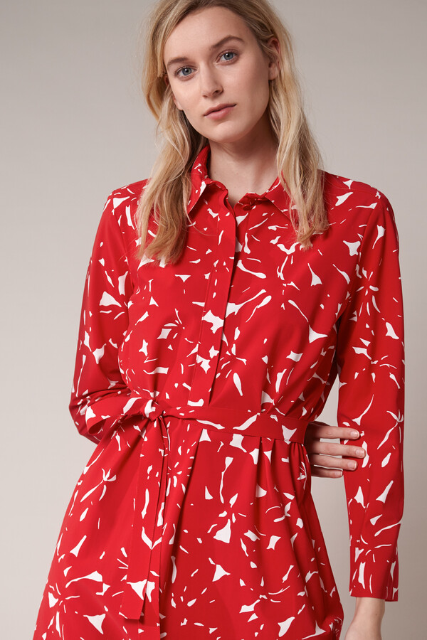 POLO DRESS FLOWER PRINT RADICAL RED