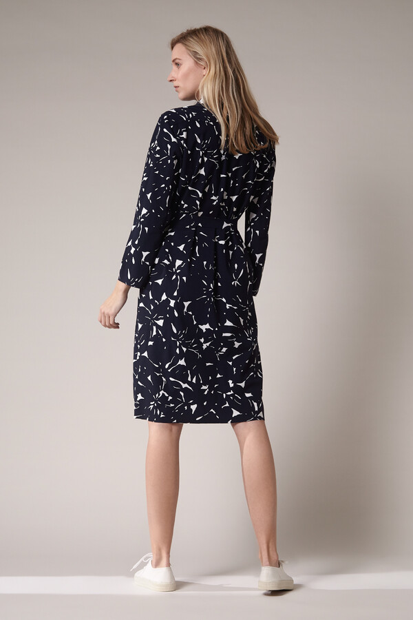 POLO DRESS FLOWER PRINT INK BLUE