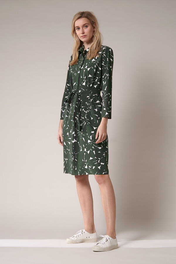 POLO DRESS FLOWER PRINT GREEN