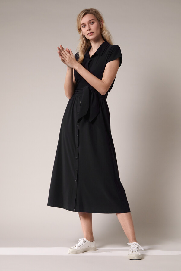 LONG SHIRT DRESS BLACK
