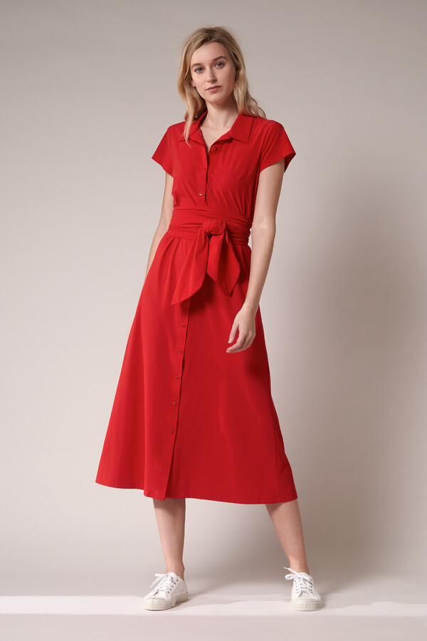 LONG SHIRT DRESS RADICAL RED
