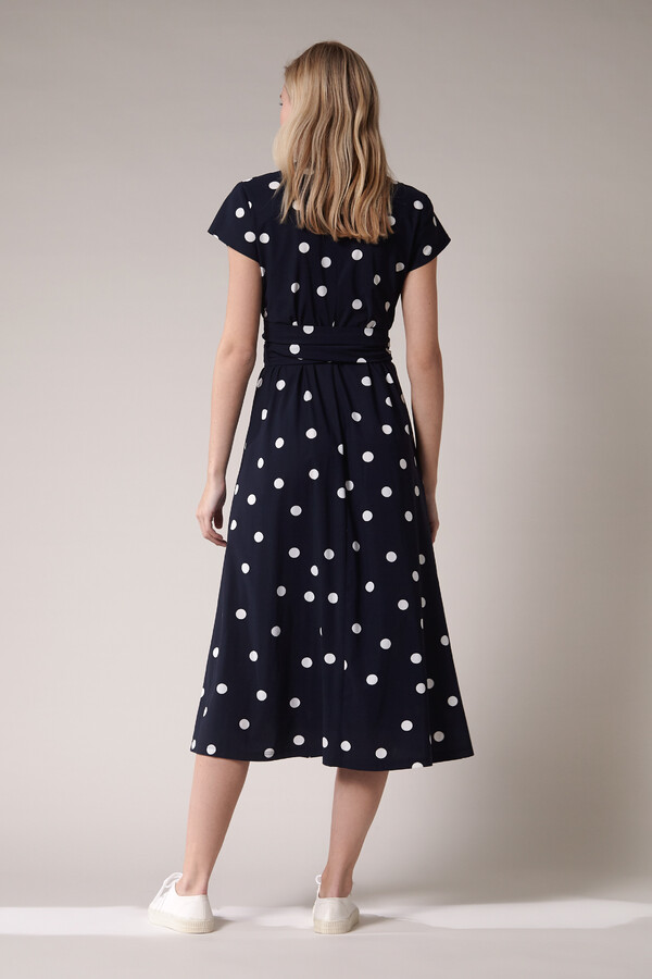 LONG SHIRT DRESS DOT PRINT INK BLUE
