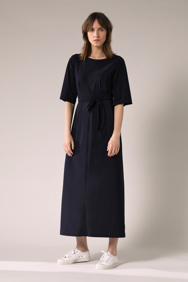 LONG WIDE TEE DRESS INK BLUE
