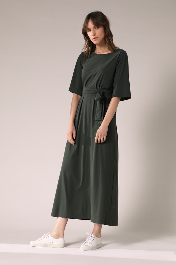 LONG WIDE TEE DRESS GREEN