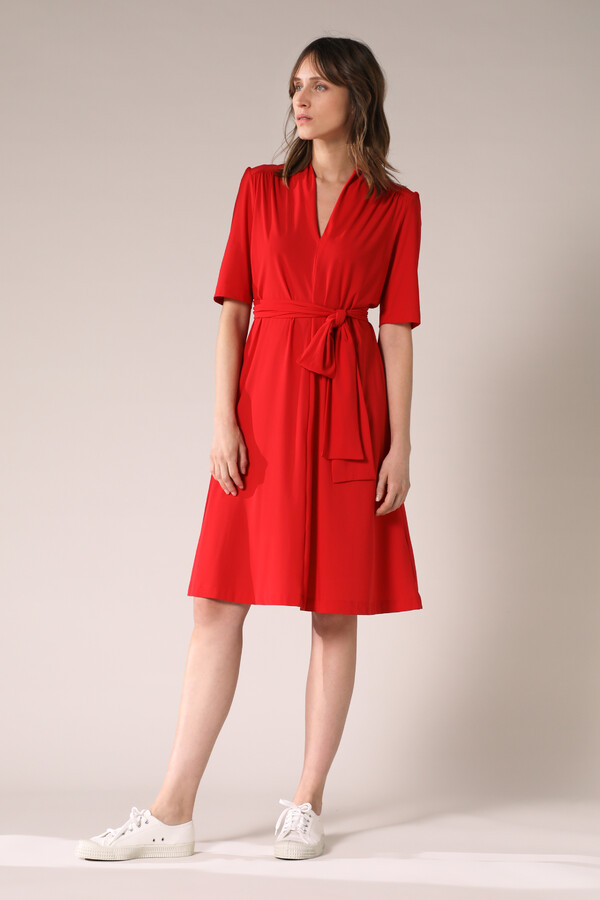 SHORT SLEEVE DRESS RADICAL RED