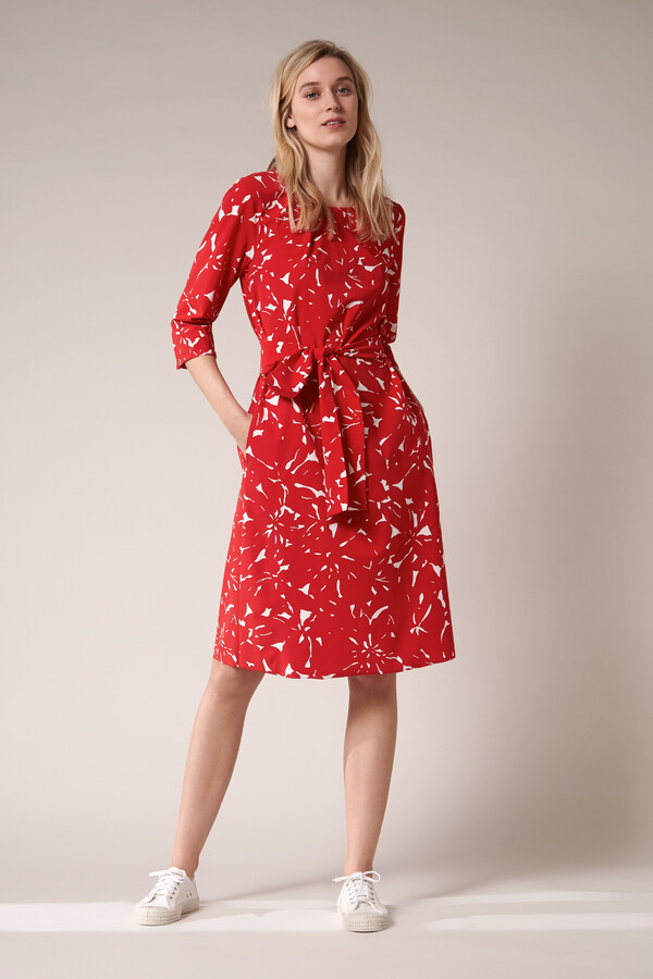 PLEATED DRESS FLOWER PRINT RADICAL RED