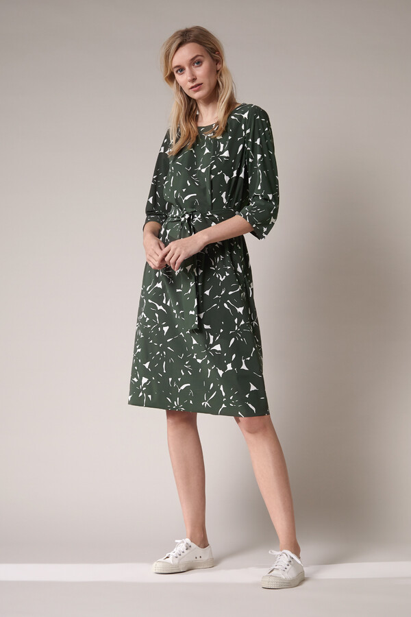 PLEATED DRESS FLOWER PRINT GREEN