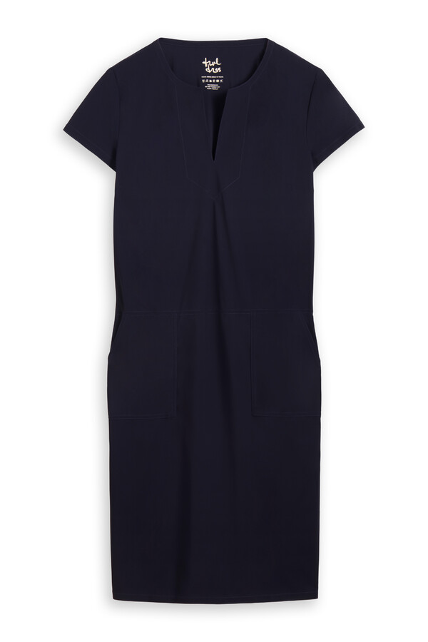 SPLIT NECK POCKET DRESS INK BLUE