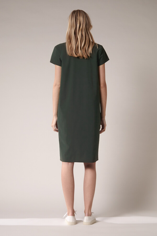 SPLIT NECK POCKET DRESS GREEN