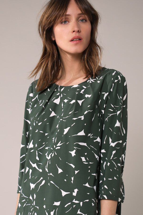 STRAIGHT PLEAT TOP ZIP PRINT GREEN