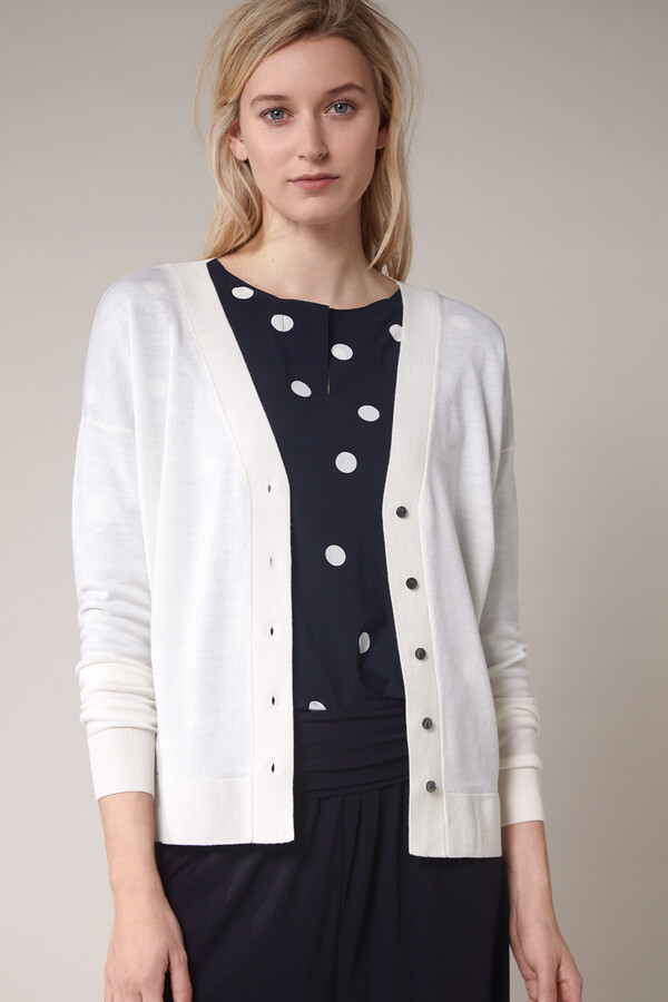 SOFT MERINO CARDIGAN OFF WHITE