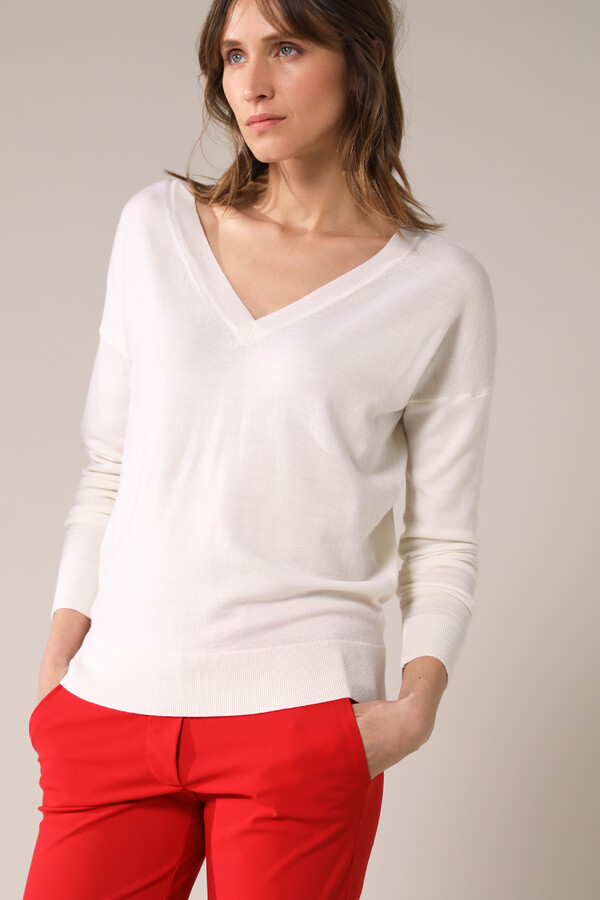 SOFT MERINO V-NECK KNIT OFF WHITE