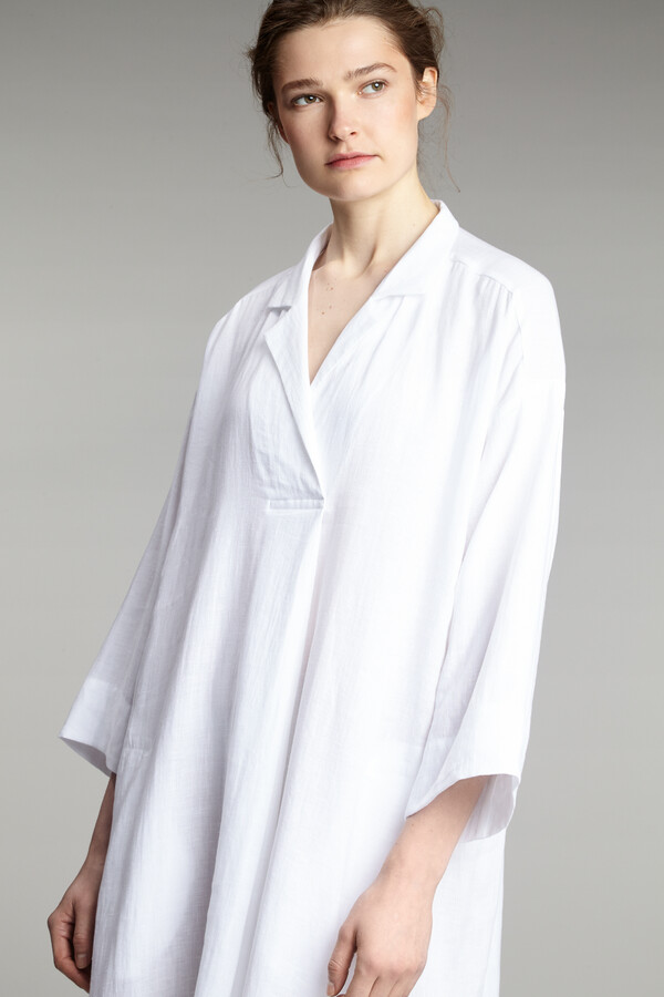 LINEN LONG POLO DRESS WHITE