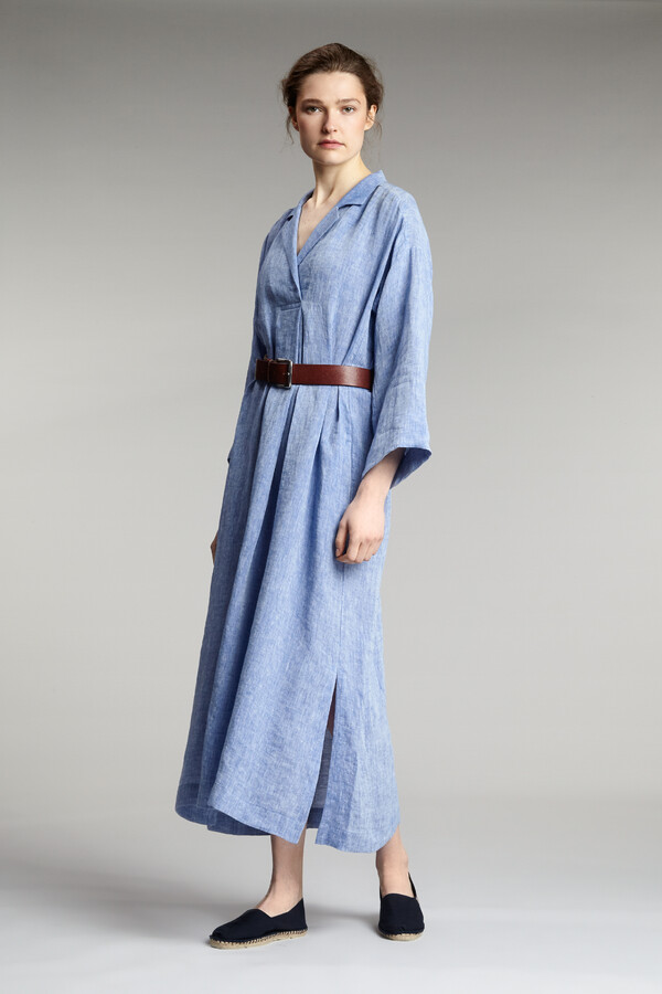 LINEN LONG POLO DRESS JAPAN BLUE