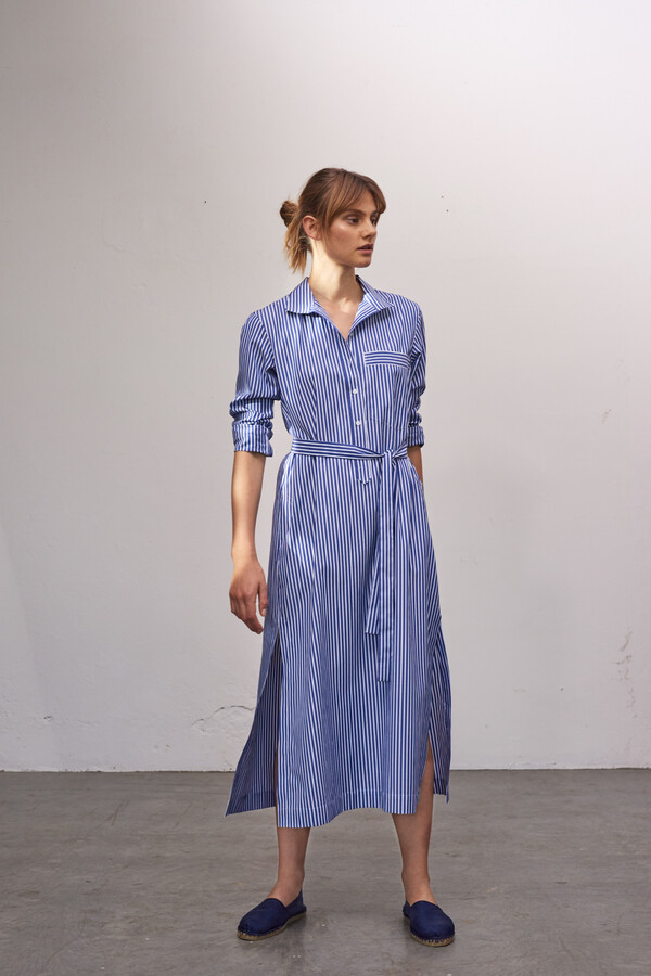 STRIPED LONG POLO DRESS JAPAN BLUE
