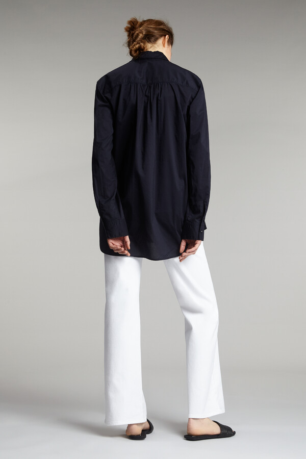 COTTON VOILE LONG-SLEEVE SHIRT MIDNIGHT BLUE