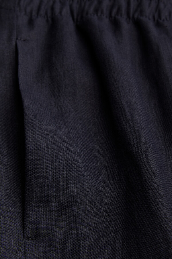 LINEN CROPPED PANTS MIDNIGHT BLUE