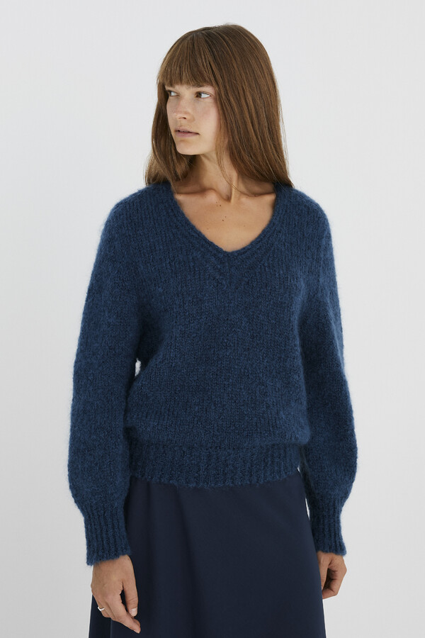 BIG MOHAIR V-PULL WARM BLUE