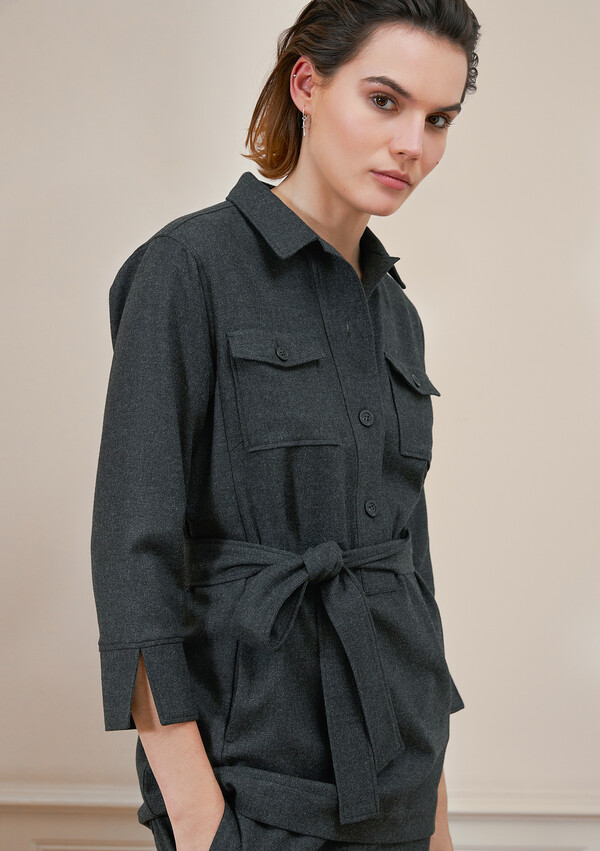 BELTED SHIRT TOP CHARCOAL