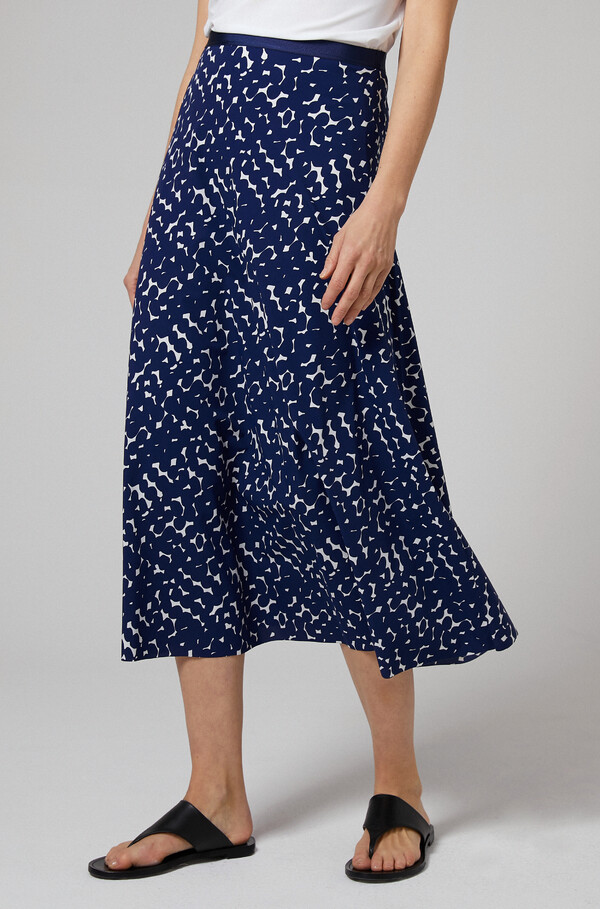 PRINTED SWAN SKIRT OCEAN BLUE