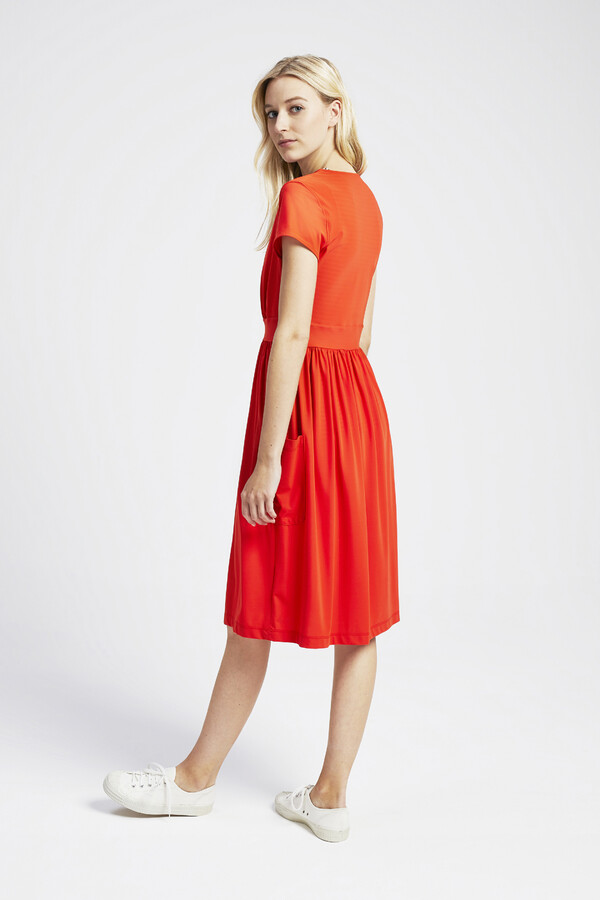 GATHERED DRESS ORANGE