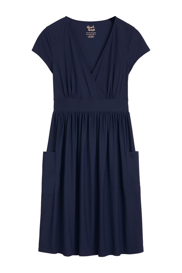 GATHERED DRESS SMOKEY BLUE