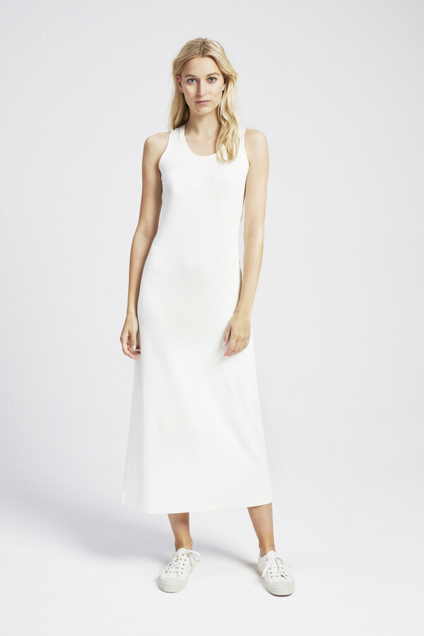 PIQUE TANK DRESS OFF WHITE