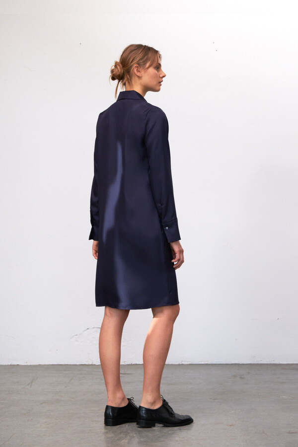 SILKY ERIN DRESS MIDNIGHT BLUE