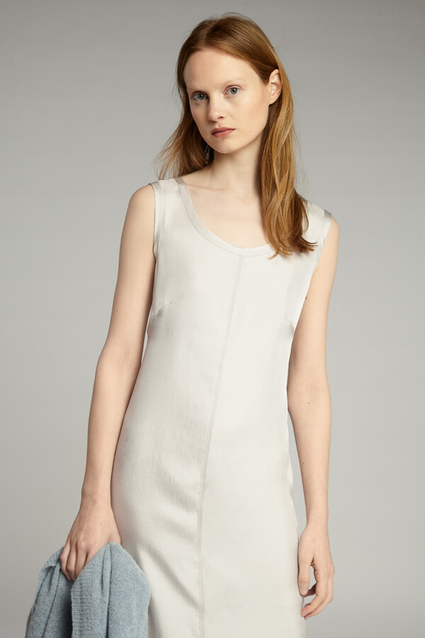 EASY SILKY TANK DRESS EGGSHELL