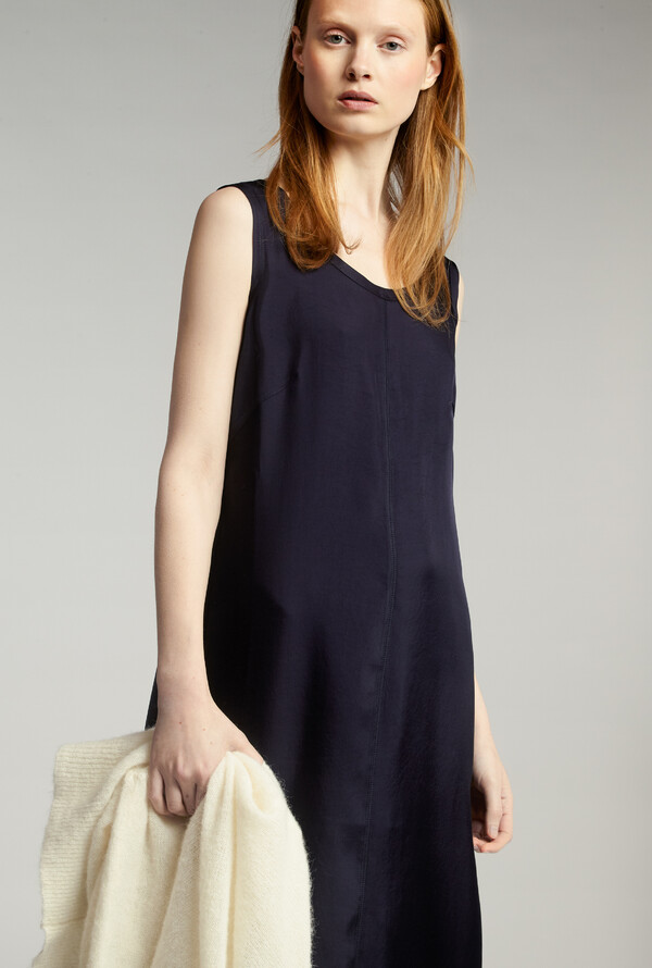 EASY SILKY TANK DRESS JAPAN BLUE