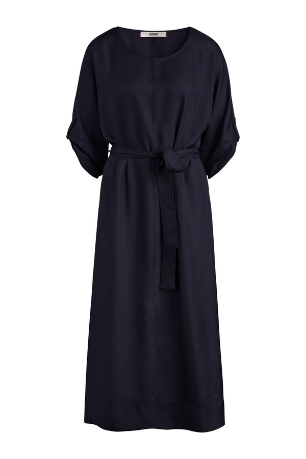 RELAXED WIDE SILKY DRESS JAPAN BLUE