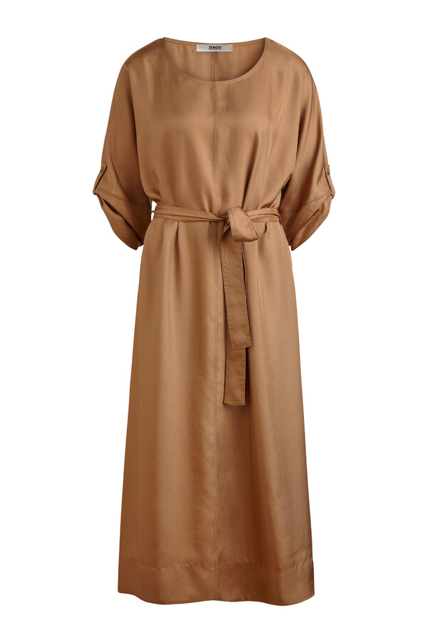 RELAXED WIDE SILKY DRESS CARAMEL