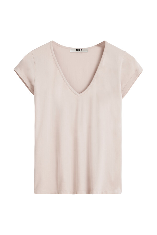 V-NECK TEE FADED ROSE