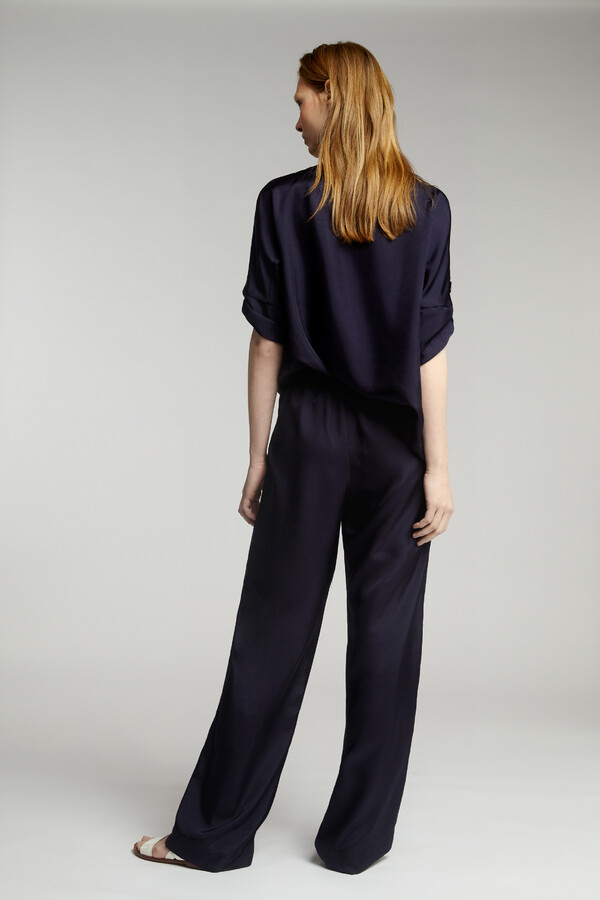 LOOSE FIT SILKY PANTS JAPAN BLUE